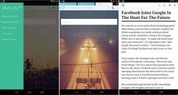 Javelin browser for Android review: a promising newcomer