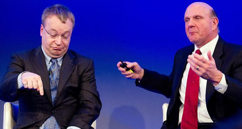 Nokia ex-CEO Stephen Elop (left) and Microsoft ex-CEO Steven Ballmer (right) - All your base are belong to us: Nokia is now Microsoft