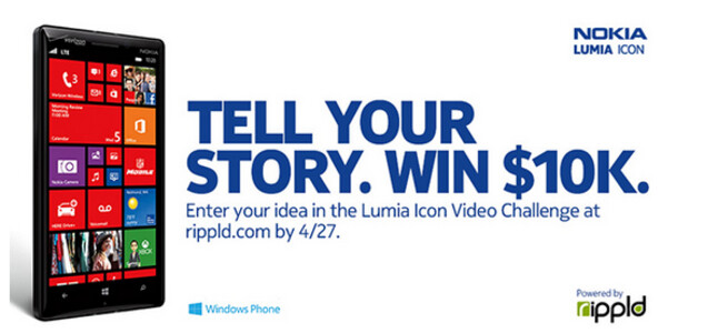 """Win a $10,000 production budget and three Nokia Lumia Icon phones from Nokia - Nokia will pay $10,000 to fund a """"mind-blowing"""" short video filmed using the Nokia Lumia Icon"""