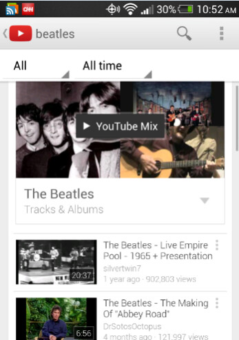 The new update to the Android version of the YouTube app includes YouTube Mix