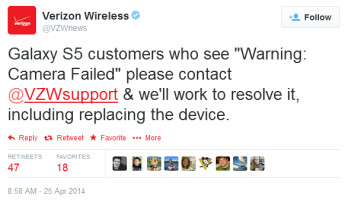 Verizon wants affected Samsung Galaxy S5 owners to contact VZW support