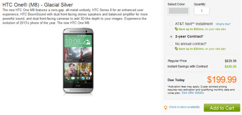 Glacial Silver HTC One (M8) now available at AT&T