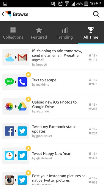 IFTTT screenshots