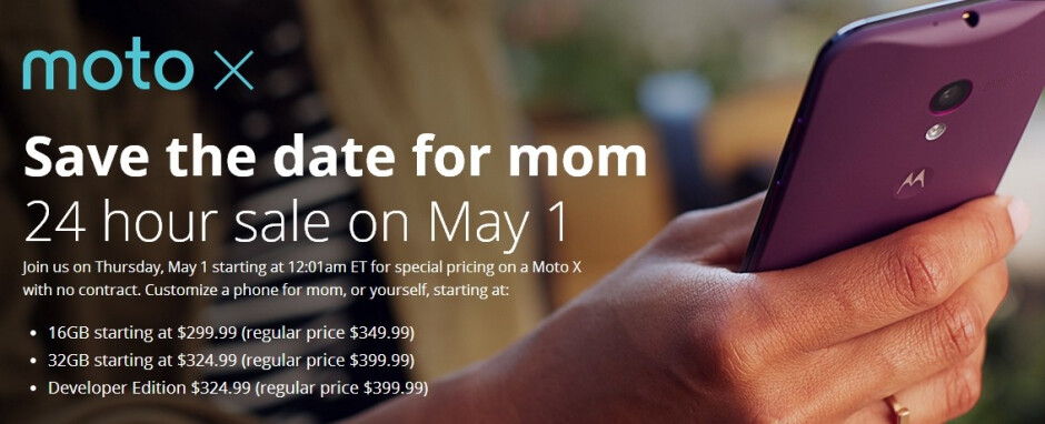 Moto X prices will start at $299 on May 1, Developer Edition will cost $325