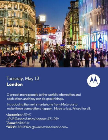 Motorola to announce a new smartphone on May 13, is it the Moto E?