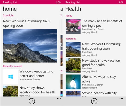 Reading List - Windows Phone - Free