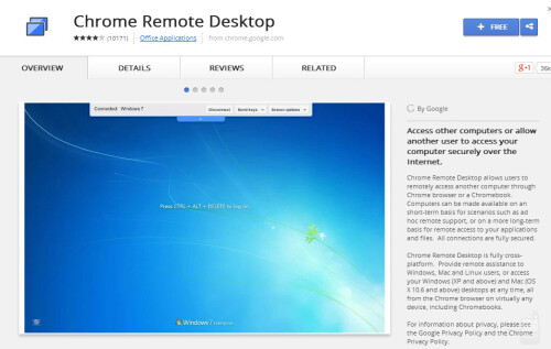 Download the Chrome Remote Desktop browser extension