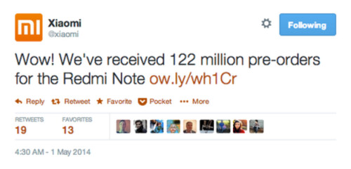Xiaomi mistakenly promotes a false number of pre-orders for the Xiaomi Redmi Note