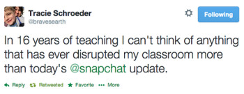 The Snapchat update on Thursday unnerved at least one teacher
