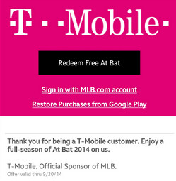 T-Mobile users get the premium version of At Bat 2014 for free - Get the premium version of At Bat 2014 for free from T-Mobile