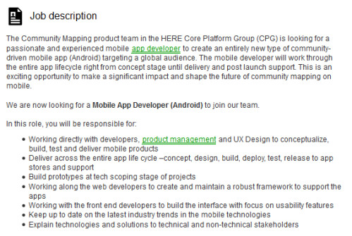 nokias job postings reveal its intent to offer native ios and android here mapping apps. Resume Example. Resume CV Cover Letter