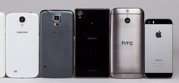 The Galaxy S5 (2nd from the left) is made out of plastic, the Xperia Z1 (3rd) - of glass, and the HTC One M8 (4th) - of metal - What's your favorite material for a phone/tablet?
