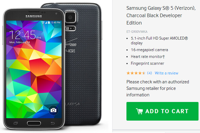 Samsung Galaxy S5 Developer Edition available now (only on Verizon)