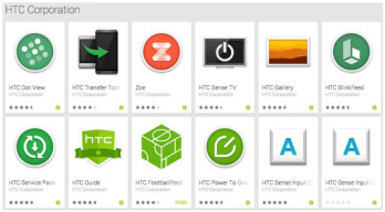 System apps for the HTC One (M8) in the Google Play Store
