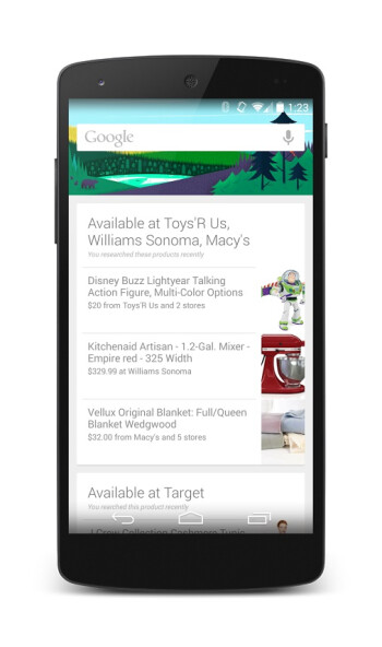 Google Now updated and will now alert you of nearby places with products you searched for