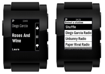 Pandora is right on your wrist with the Pebble smartwatch