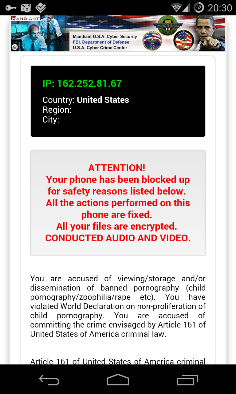 """Ransomware in action. Image courtesy of BitDefender. - New Android """"ransomware"""" insists you must pay a $300 fine because you watched awful porn"""