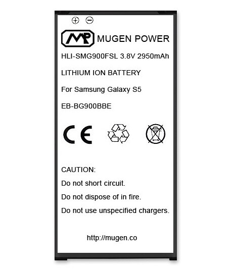 Mugen Power extended battery for the Samsung Galaxy S5. Capacity: 1950mAh