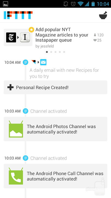 A timeline showing what recipes have been triggered and other actions