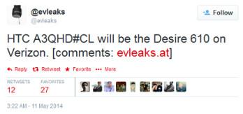 HTC Desire 610 is coming to Verizon, says evleaks
