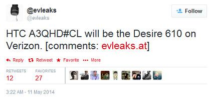 HTC Desire 610 is coming to Verizon, says evleaks - HTC Desire 610 coming to Verizon?