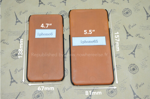 Cases leak for the 4.7 inch Apple iPhone 6 and the 5.5 inch Apple iPhone 6s