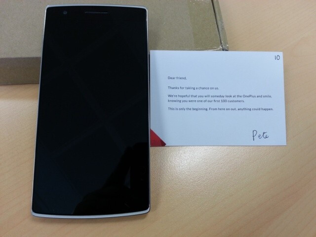 """OnePlus One winners get devices with """"thank you"""" card, but sans a charger and a SIM ejector tool"""