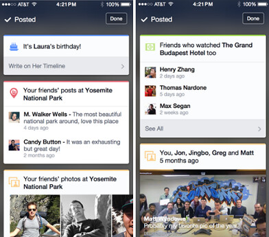 Color coded cards are being tested on the iOS version of Facebook - Facebook testing Google Now-style cards for its iOS app