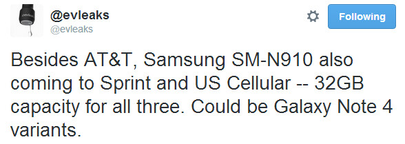 Samsung SM-N910 (possibly a Galaxy Note 4 variant) to be released by Sprint and U.S. Cellular