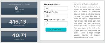 iPhone 6 models pixel density