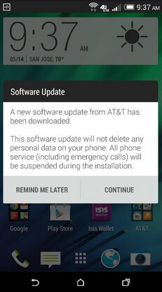 AT&T's HTC One (M8) is getting an update