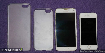 From Left to right, 5.5 inch Apple iPhone case, 4.7 inch Apple iPhone case, Samsung Galaxy S5, Apple iPhone 5s