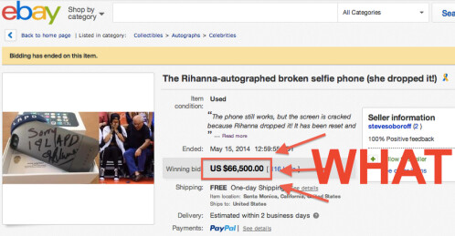 Dropped smartphone is auctioned off for $66,500