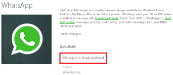 WhatsApp is no longer published for Windows Phone 8 and Windows Phone 8.1