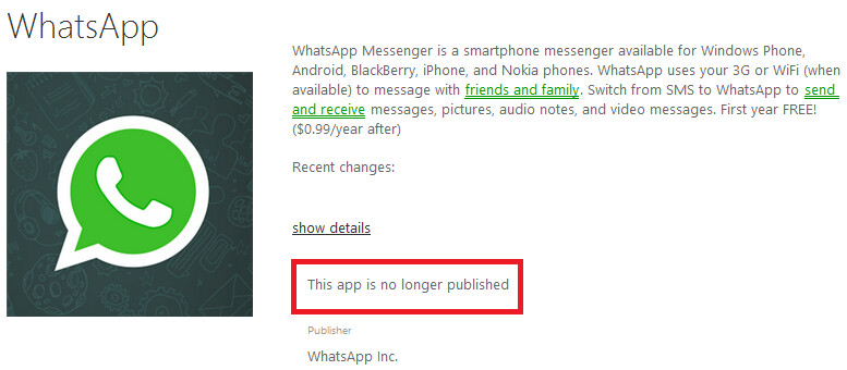 WhatsApp is no longer published for Windows Phone 8 and Windows Phone 8.1 - WhatsApp missing from Windows Phone Store