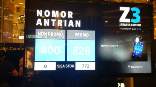 Counter in Central Park Mall monitors BlackBerry Z3 sales there