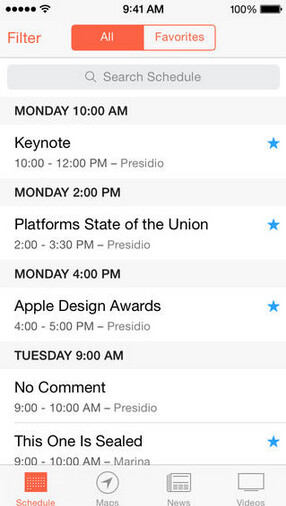Screenshots from the updated WWDC app