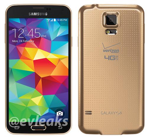 Samsung Galaxy S5 in copper gold for Verizon - Samsung Galaxy S5 pictured in copper gold, wearing Verizon brand