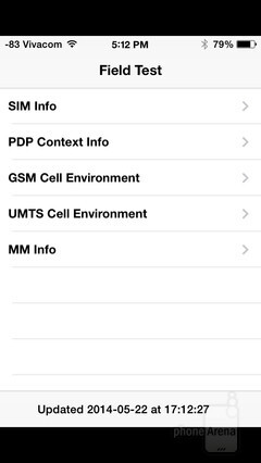Hidden service menu on iPhone