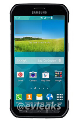 Press render of the Samsung Galaxy S5 Active - Leaked press render of the Samsung Galaxy S5 Active shows the AT&T version of the device