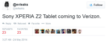 Tweet from evleaks reveals that the Sony Xperia Z2 Tablet is headed to Verizon
