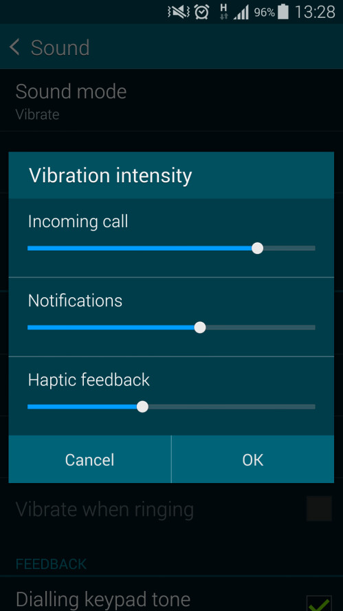 Adjust the intensity for different notifications