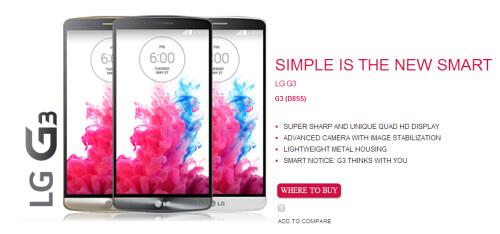 LG G3 product page leaks on LG Netherlands' website