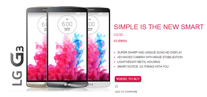 LG G3 product page leaks on LG Netherlands' website