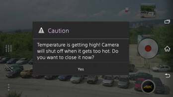 A warning message that the Xperia Z2 displays when its temperature starts to get dangerously high during 4K video recording