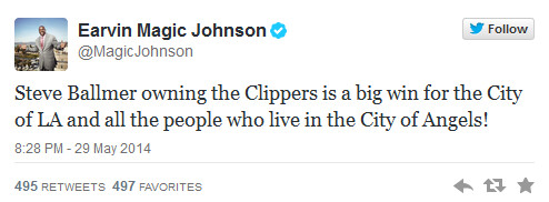 Magic Johnson tweets his happiness over Ballmer's winning bid - Former Microsoft CEO Steve Ballmer agrees to buy the NBA's L.A. Clippers for a cool $2 billion