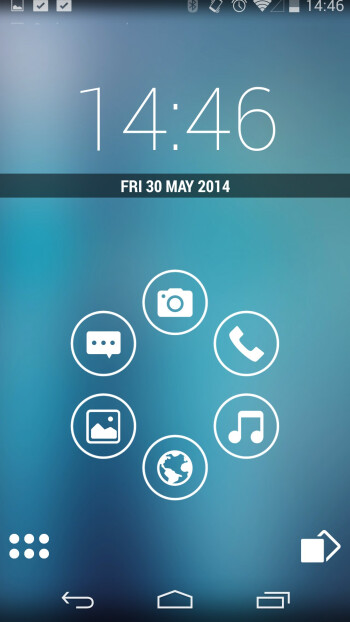 The rotary dial bubbles can be folders, shortcuts, and even pop-up widgets