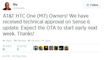 Tweet from HTC executive reveals an update to the AT&T HTC One (M7) coming next week