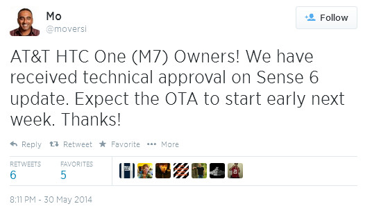 Tweet from HTC executive reveals an update to the AT&T HTC One (M7) coming next week - HTC One (M7) Sense 6 update for AT&T coming early next week