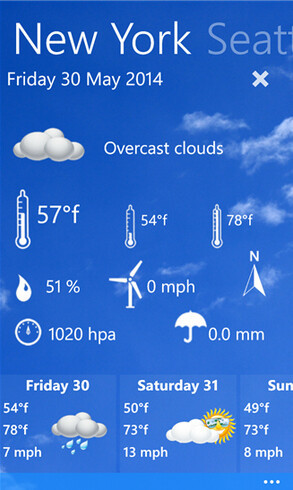 Screenshots from Funny weather for Windows Phone - Funny weather app for Windows Phone keeps you hip to the weather in your area